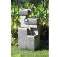 Design Gartenbrunnen mit 4 Stufen 38,7x32,3x80,3 cm Kunststein grau inkl. Schlauch und Pumpe