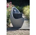 Design Gartenbrunnen in Ei Form groß 49,5x49,5x66,5 cm Kunststein grau inkl. Schlauch und Pumpe