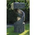 Design Gartenbrunnen mit LED 31,5x31,5x79,5 cm Kunststein grau inkl. Schlauch und Pumpe