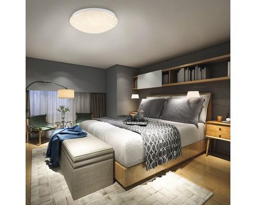 LED RGB Deckenleuchte dimmbar 10W 700 lm warmweiß HxØ 90x260 mm weiß mit Fernbedienung Farbwechsler + Sternenhimmel