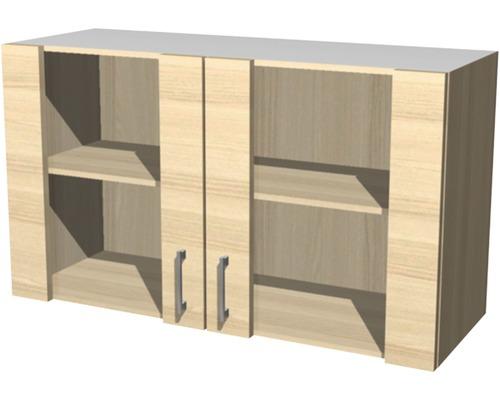 Küchen-Glashängeschrank BARCELONA 90 cm hoch 50 cm breit Grau // Akazie
