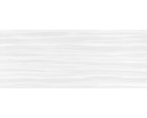 Dekorfliese Mavi Wellen weiß asphalt matt 20 x 50 cm