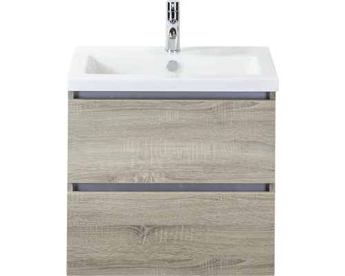 Badmöbel-Set Vogue 60 cm mit Keramikwaschbecken Eiche grau