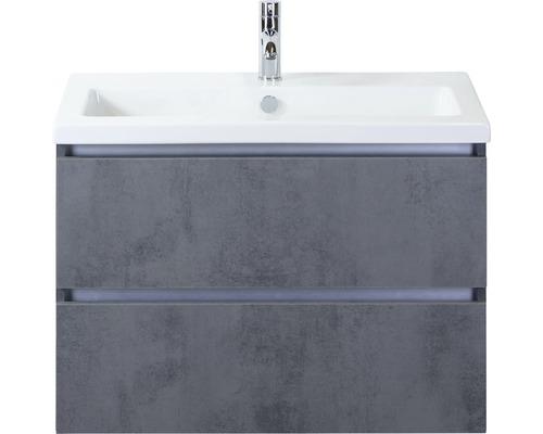 Badmöbel-Set Vogue 80 cm mit Keramikwaschtisch Beton anthrazit