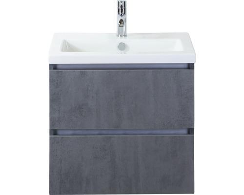 Badmöbel-Set Vogue 60 cm mit Keramikwaschbecken Beton anthrazit