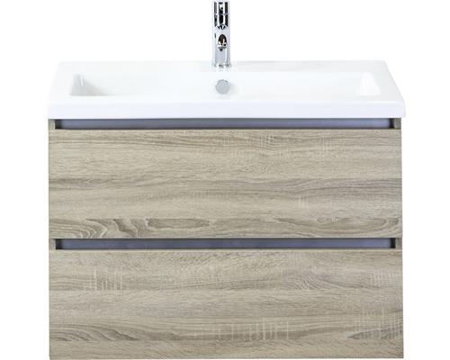 Badmöbel-Set Vogue 80 cm mit Keramikwaschtisch Eiche grau