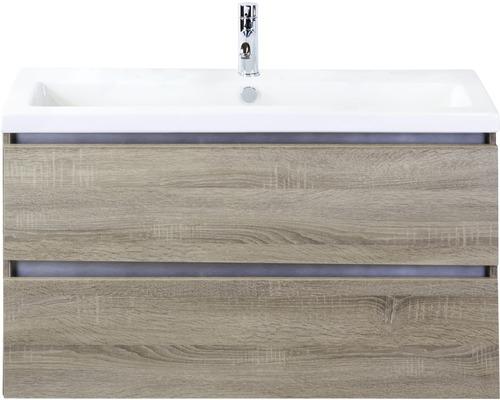 Badmöbel-Set Vogue 100 cm mit Keramikwaschtisch Eiche grau