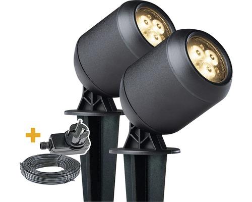 LED Spot 2er-Set IP44 Edestahl 2x1,5W 2x150 lm 3000 K warmweiß HxØ 100x63 mm schwarz