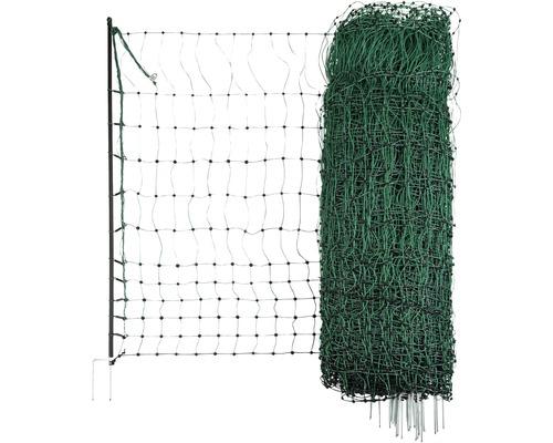 Geflügelnetz Doppelspitze elektrisch leitend 2500 x 106 cm grün