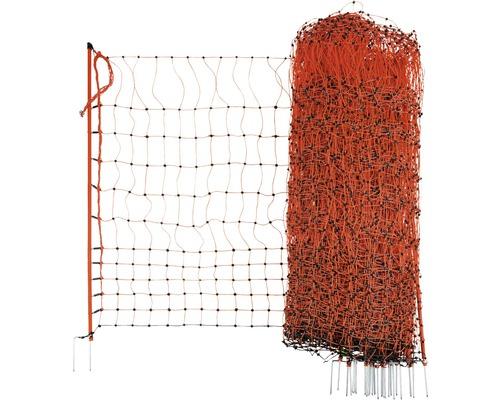 Geflügelnetz Doppelspitze elektrisch leitend 5000 x 106 cm orange