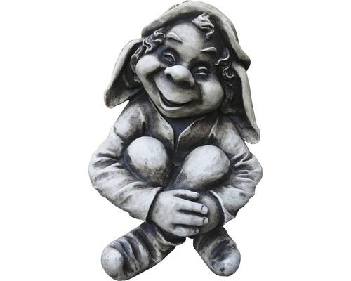 Gartenfigur Troll Mordin Fiberglas grau