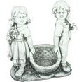 Gartenfigur Junge und Mädchen Fiberglas grau