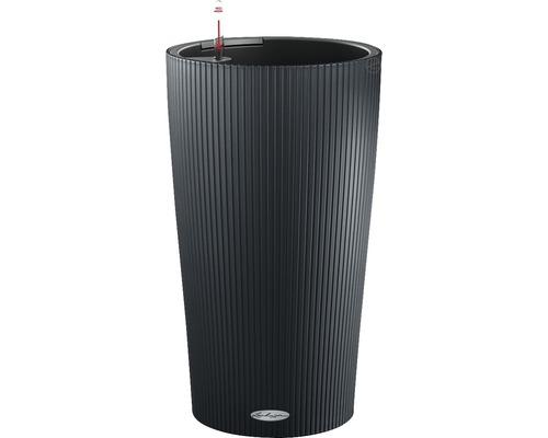 Pflanzvase Lechuza Cilindro Color H 56 cm Kunststoff grau inkl. Erdbewässerungsystem, Pflanzeinsatz, Substrat und Wasserstandsanzeiger