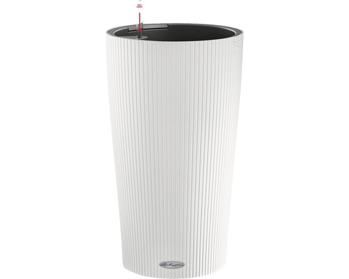 Pflanzvase Lechuza Cilindro Color Ø 23 cm H 41 cm Kunststoff weiß inkl. Erdbewässerungsystem, Pflanzeinsatz, Substrat und Wasserstandsanzeiger