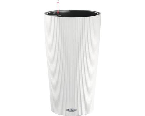 Pflanzvase Lechuza Cilindro Color Ø 32 cm H 56 cm Kunststoff weiß inkl. Erdbewässerungsystem, Pflanzeinsatz, Substrat und Wasserstandsanzeiger