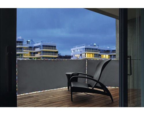Balkonumrandung mit LED silbergrau 90x300 cm
