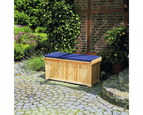 Kissentruhe 120 x 51 cm Holz natur inkl. Sitzauflage
