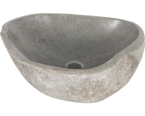Aufsatzwaschbecken Lombok ca. 50 cm Naturstein Riverstone grau