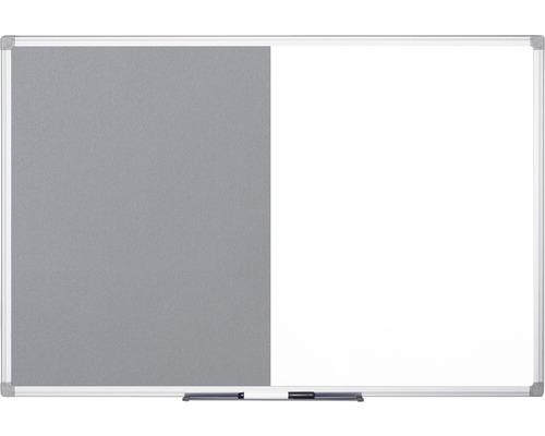 Kombitafel Filz- und Magnettafel weiß grau 90x60 cm