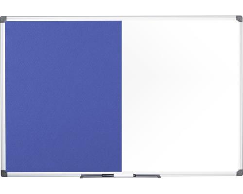Kombitafel Filz- und Magnettafel weiß blau 90x60 cm