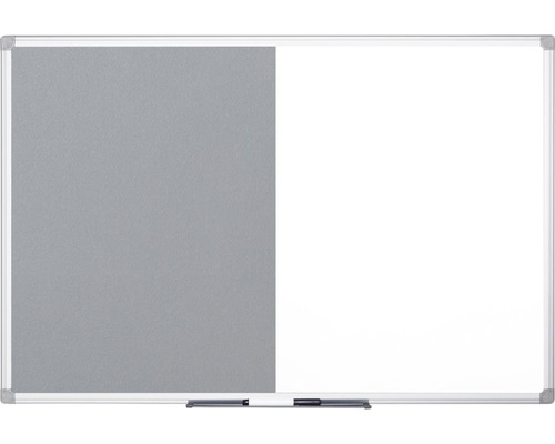 Kombitafel Filz- und Magnettafel weiß grau 150x120 cm