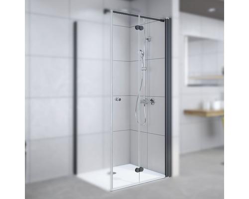 Drehfalttür für Seitenwand Breuer Elana Komfort 90 cm Anschlag rechts Klarglas Profilfarbe schwarz