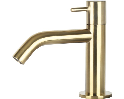 Standventil Kaltwasserhahn gebogen matt gold