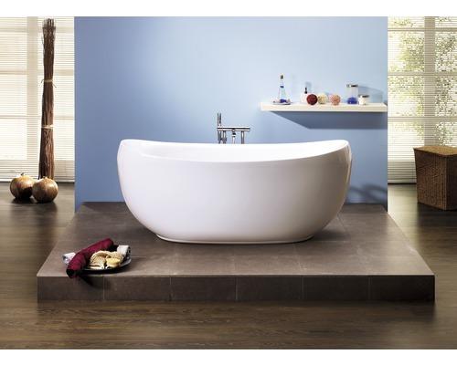 Freistehende Badewanne Pessoa 180x83,5 cm weiß inkl. Ab- und Überlaufgarnitur