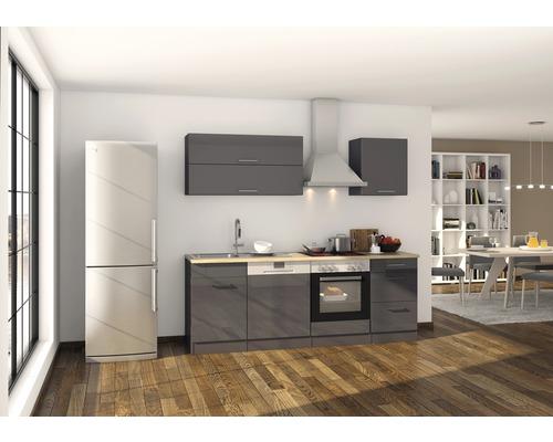 küchenzeile held möbel mailand 220 cm grafit hochglanz