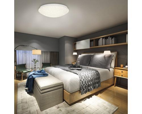 LED Deckenleuchte dimmbar 22W 2200 lm 3000-6500 K warmweiß-tageslichtweiß mit IR Fernbedienung + Sternendekor HxØ 100x390 mm weiß 1-flammig