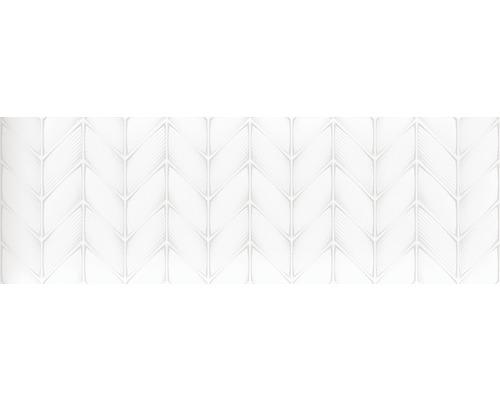 Wandfliese Aden Snow weiß 3D glänzend 30x90 cm rektifiziert