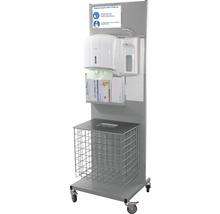 Hygienestation Premium 156 cm inkl. 1 l Desinfektionsspender, Papierhandtuchspender, Einmal-Handschuh Halterung & Abfallbehälter