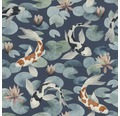 Vliestapete 409444 Kimono Koi Blauweiß