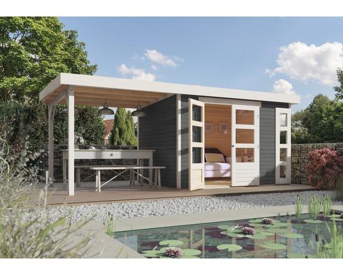 Gartenhaus Karibu Naomi 4 mit Anbau 2,40 m 522 x 217 cm terragrau