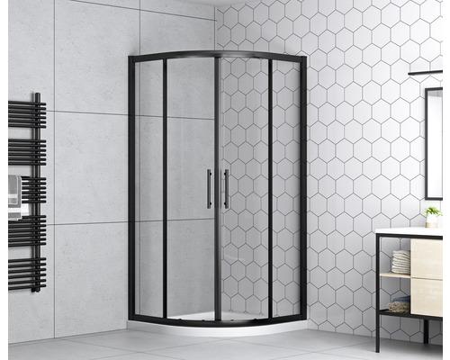 Runddusche form&style Moorea black 90 cm Klarglas matt schwarz