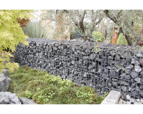 Fertiggabione 100 x 25 x 50 cm gefüllt mit Gabionensteinen Nero Ebano 70-120 mm