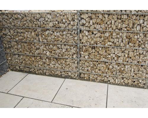 Fertiggabione 100 x 25 x 100 cm gefüllt mit Gabionensteinen Rosso Verona 70-120 mm