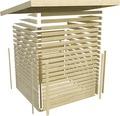 Saunahaus Karibu Topas 3 inkl.9kW Ofen u.ext.Steuerung mit Vorraum und Fenster mit Holztüre und Milchglas