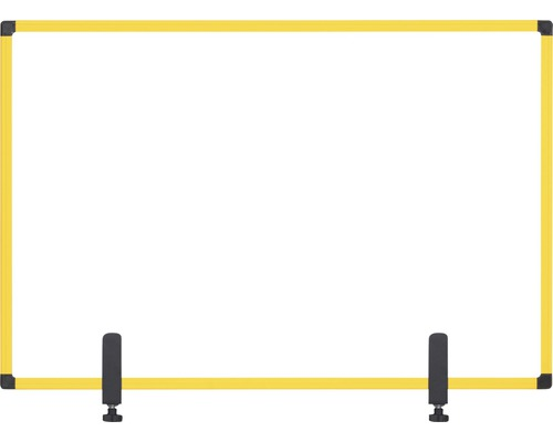 Trennwand Hygieneschutz Glas zum Befestigen am Tisch gelb 90x60 cm
