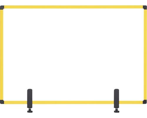 Trennwand Hygieneschutz Glas zum Befestigen am Tisch gelb 104x70 cm