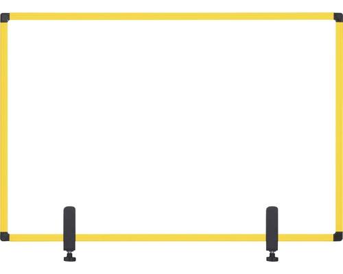 Trennwand Hygieneschutz Glas zum Befestigen am Tisch gelb 120x90 cm