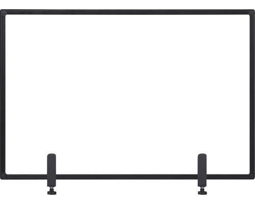 Trennwand Hygieneschutz Glas zum Befestigen am Tisch schwarz 90x60 cm