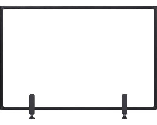 Trennwand Hygieneschutz Glas zum Befestigen am Tisch schwarz 104x70 cm