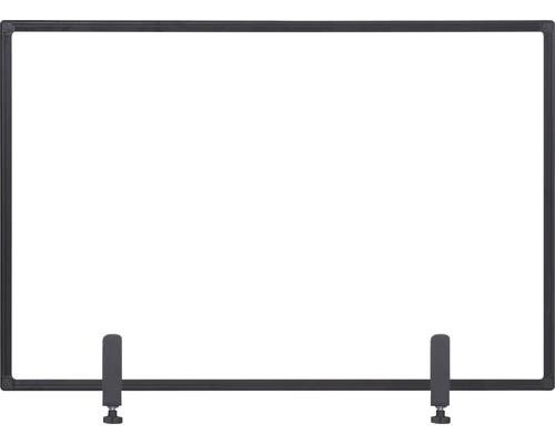 Trennwand Hygieneschutz Glas zum Befestigen am Tisch schwarz 120x90 cm