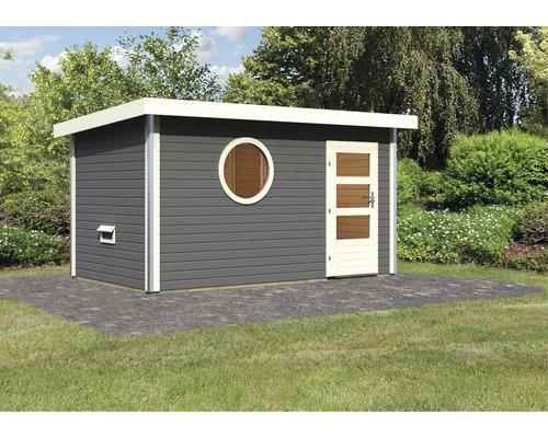 Saunahaus Karibu Topas 3 ohne Ofen mit Vorraum und Fenster mit Holztüre und Isolierglas wärmegedämmt anthrazit/weiß