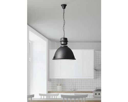 Pendelleuchte 1-flammig Metall/Glas Kiki Struktur schwarz/stahl HxØ 1460/480 mm
