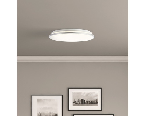 LED Deckenleuchte 24W 1900 lm 3000 K warmweiß Jamil weiß/silber HxØ 72/390 mm