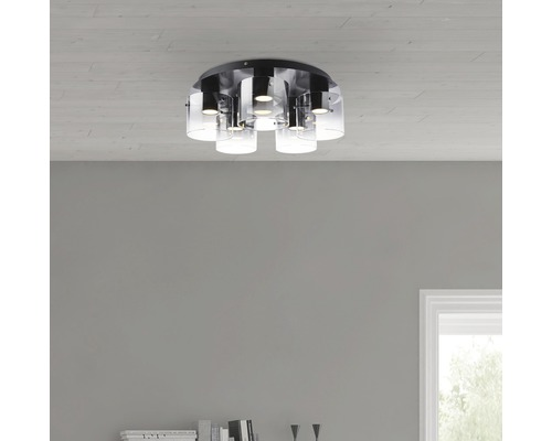 LED Deckenspot 5x8W 5x600 lm 3000 K warmweiß Ø 520 mm Hobey schwarz/rauchglas