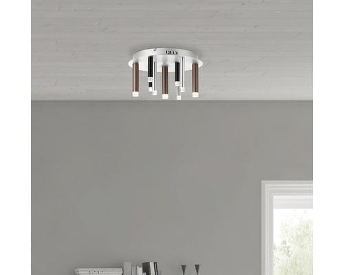 LED Deckenleuchte dimmbar 9x4W 9x300 lm 3000 K warmweiß Cembalo alu/schwarz/braun HxØ 215/400 mm 3-Stufen dimmbar über Wandschalter