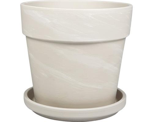 Pflanztopf-Set Calima Ø 29 cm H 25,6 cm weiß inkl. Untersetzer